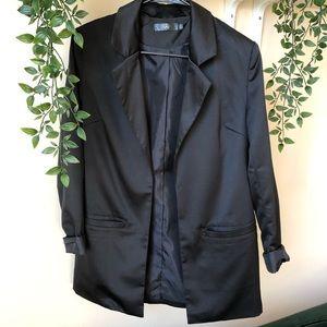 Missguided Shiny Black Oversized Blazer